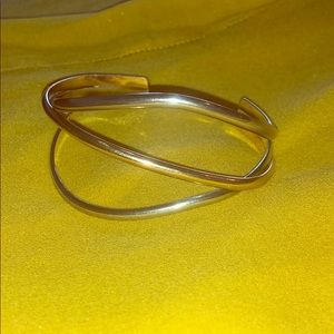 14k Gold Sterling Silver Triple Band Cuff Bangle